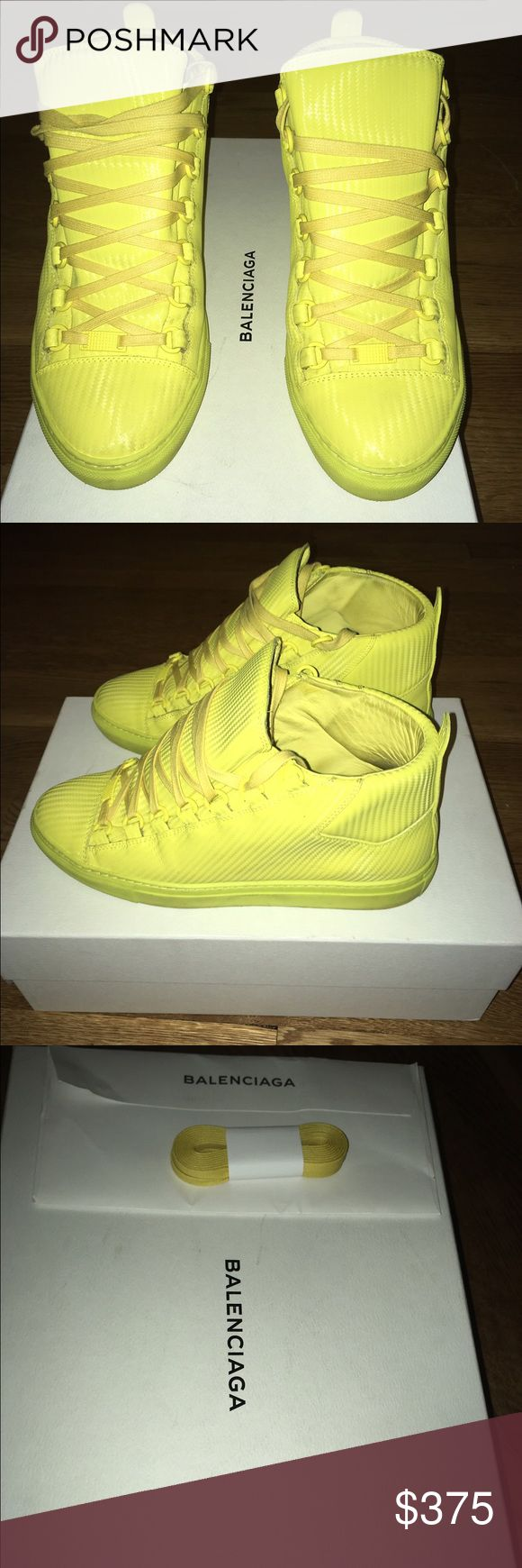 """Balenciaga 7 US EUR 40 Neon Yellow 100%Real Mat palladium metal finishing Metal tab with guillochet design at front Tone-on-tone laces, sole and lining Balenciaga logo on the tongue 5 mm arch Insole: Width 11.02 inches / Length 3.54 inches Made in Spain Please note this item runs large, we suggest you take a full size down for a more appropriate fit"""" Balenciaga Shoes Sneakers"""