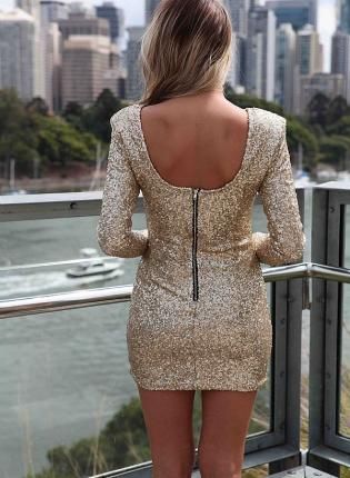 Gold Sequin Dress - Gold Sequin Long Sleeve Bodycon