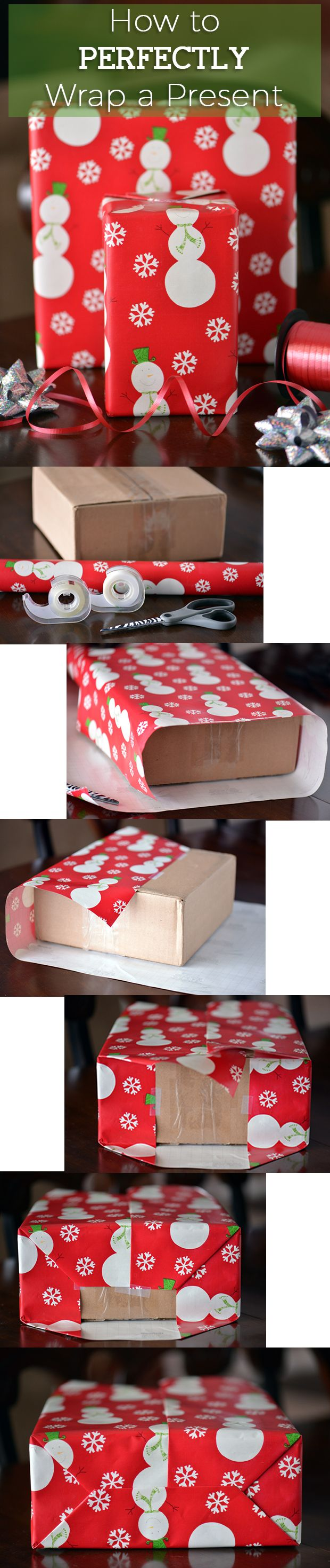 No more struggling with wrapping paper! This is how to wrap presents perfectly every single time. Happy Holidays! http://www.ehow.com/ehow-crafts/blog/how-to-perfectly-wrap-a-present/?utm_source=pinterest.com&utm_medium=referral&utm_content=blog&utm_campaign=fanpage