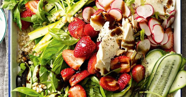 Lighten things up with this crunchy seasonal salad, packed withasparagus, cucumber and strawberries, then topped with sweet balsamic vinegar glaze. It's a great side to have with your barbecue.
