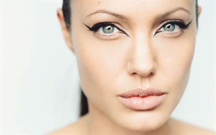 Hämta bilder Angelina Jolie, 4k, porträtt, Amerikansk skådespelare, make-up, vackra ögon, FN: s Goodwill-Ambassadör