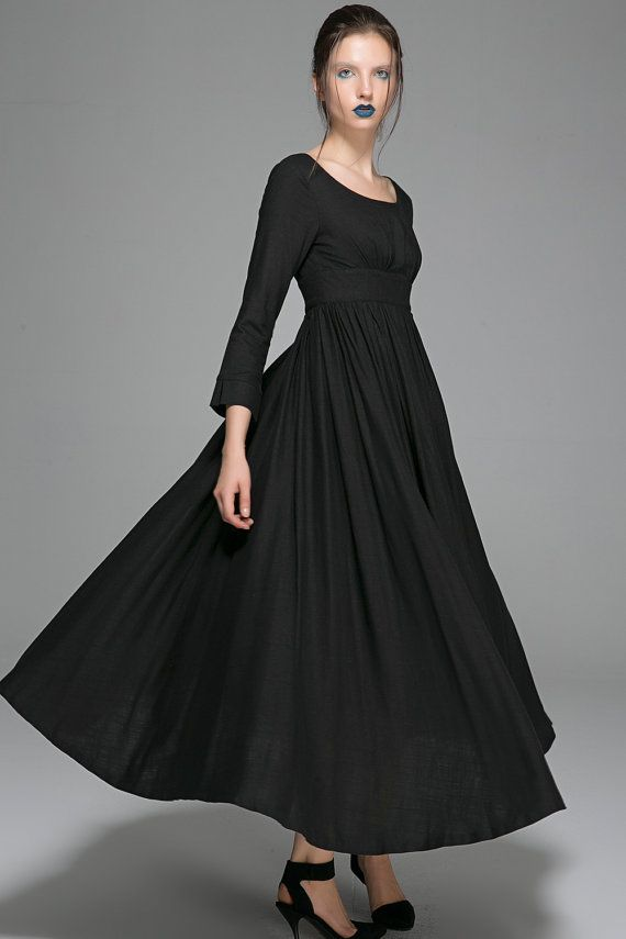 This Black maxi linen dress featuring Empire shape design, fitted waist and pleated long skirt make this little black dress chic and feminine. Completed with Round neckline and three quarter sleeve , This black maxi linen dress is perfect for your next evening party. Please also take a look at this black maxi dress here: https://www.etsy.com/listing/52961581/  DETAIL * Made from black linen * Round neckline * High waisted design * Bracelet length dress * A back zipper closure * Prom…