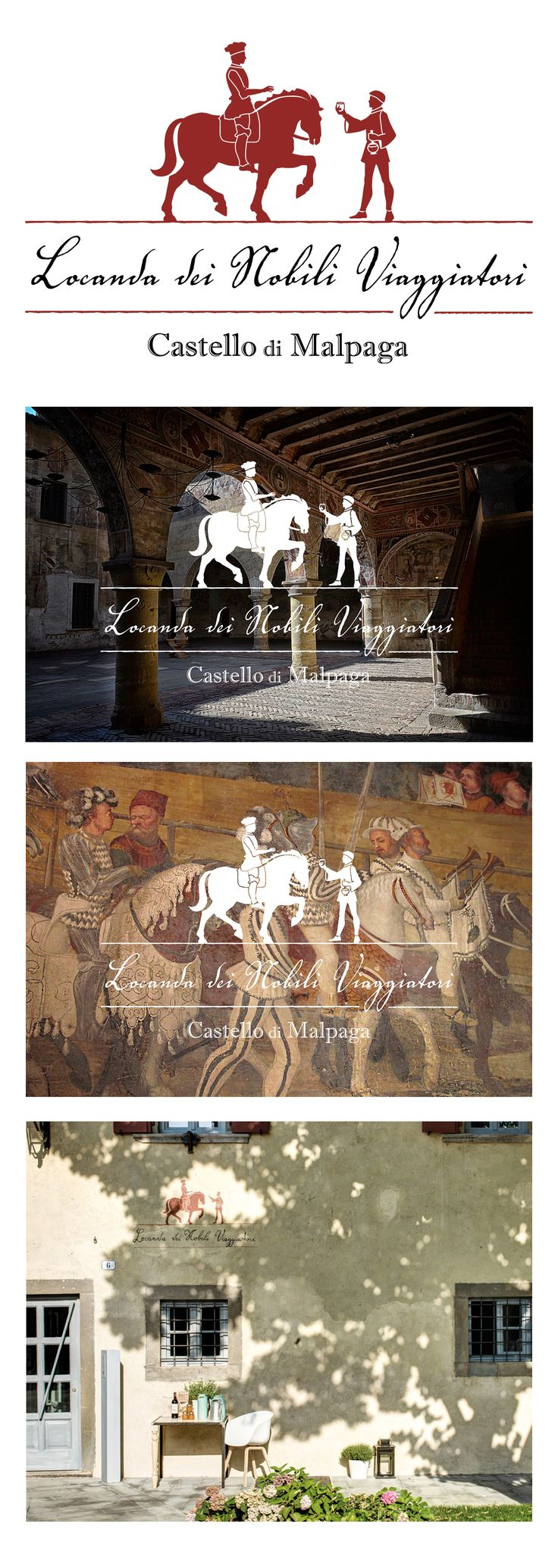 Locanda dei nobili viaggiatori, Castello di Malpaga. Logo design. Tiziana Moretti co newtarget. https://www.behance.net/gallery/24550413/Locanda-dei-nobili-viaggiatori-logo.