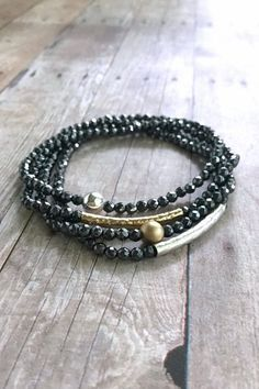 Silver or Gold Bead Bracelet / Faceted Hematite Jewelry / Small Stone Beaded Stretch Bracelet