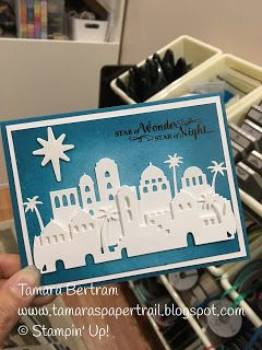 Tamara's Paper Trail: Stampin' Up! Night In Bethlehem, Bethlehem Edgelits Star of Light, Glossy White card stock, Island Indigo Stampin'  Pad