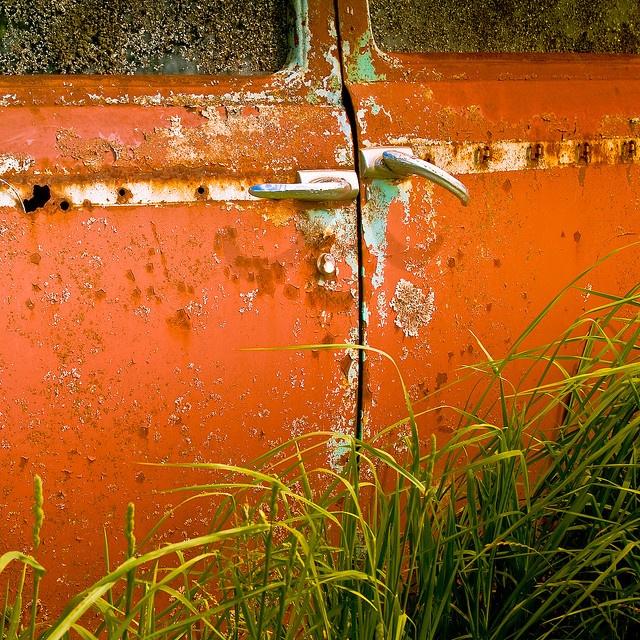 orange: Orange, Sports Cars, Back Doors, Vintage Cars, Old Trucks, Modern Gardens Design, Rust, Old Cars, Vintage Doors