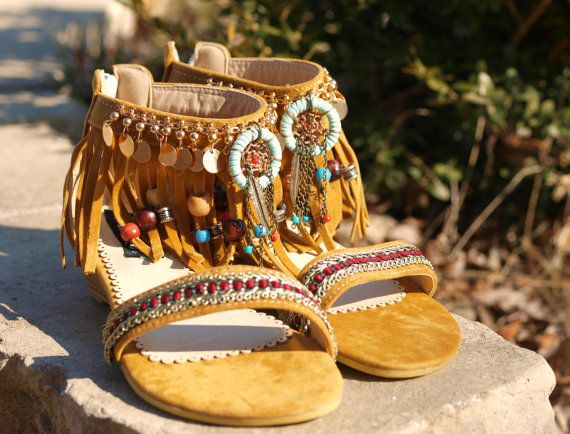 BOHO beaded fringed ethnic ankle flat sandals dream catcher tribal beach wedding island festival flat sandals shoes bohemian sandals