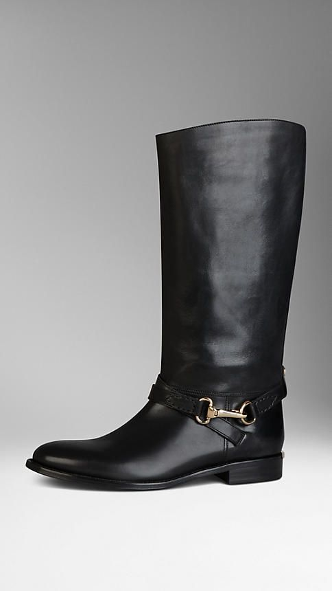 Polished Metal Buckle Riding Boots | Burberry