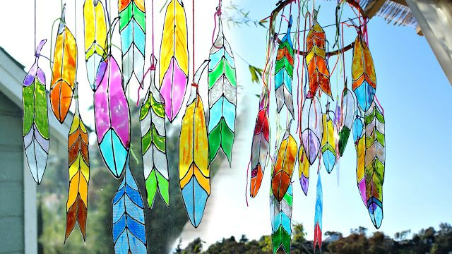 Mark Montano: Faux Stained Glass Feathers ***try using recycled plastic from soda bottles or milk jugs.
