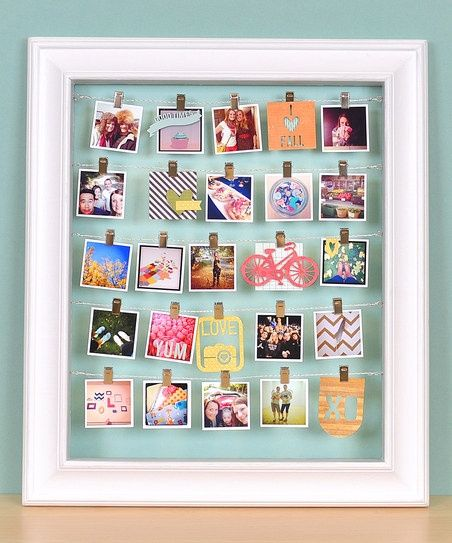 Photo Frame. Want to do this with pics of friends and places! Love how it is clear so your wall color shows through.