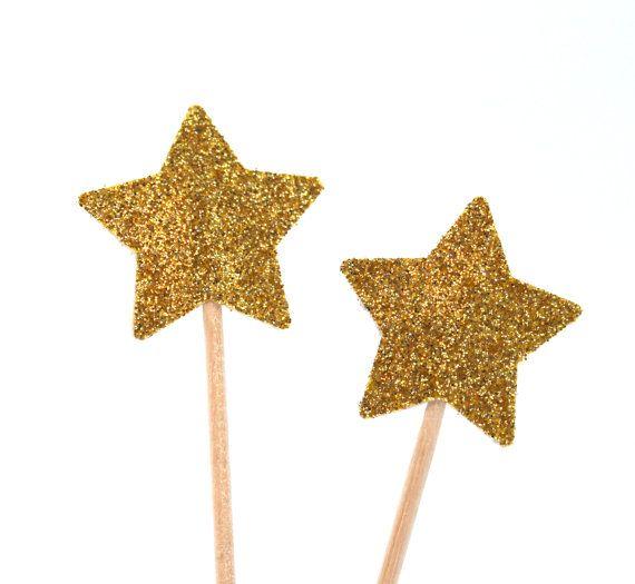 Goldener Stern Muffin Dekoration für Cupcake 20 von AtelierMaltopf, $7.00