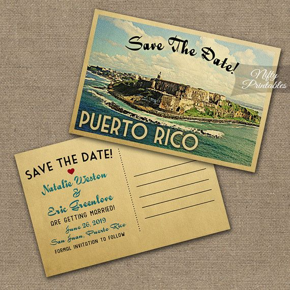 Puerto Rico Save The Date Postcards  Printable by NiftyPrintables