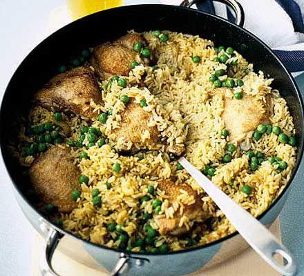 Chicken biryani pilau  445 calories, protein 32g, carbohydrate 57g, fat 12 g, saturated fat 3g, fibre 2g, salt 0.5 g