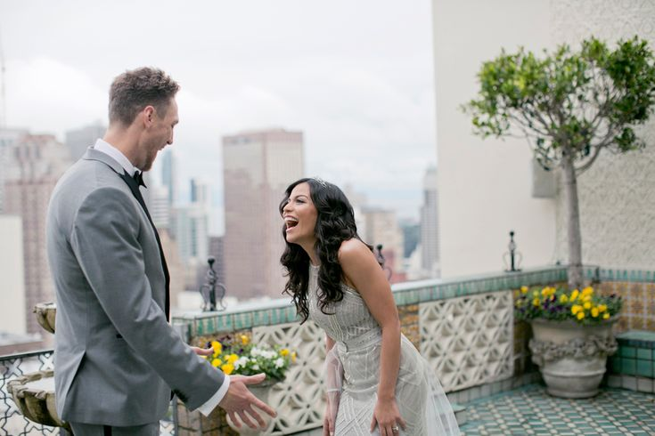 "Hunter Pence's ""First Look"" Reaction  Photography: Mel Barlow & Co. Read More: http://www.insideweddings.com/weddings/alexis-cozombolidis-and-hunter-pence/1047/"