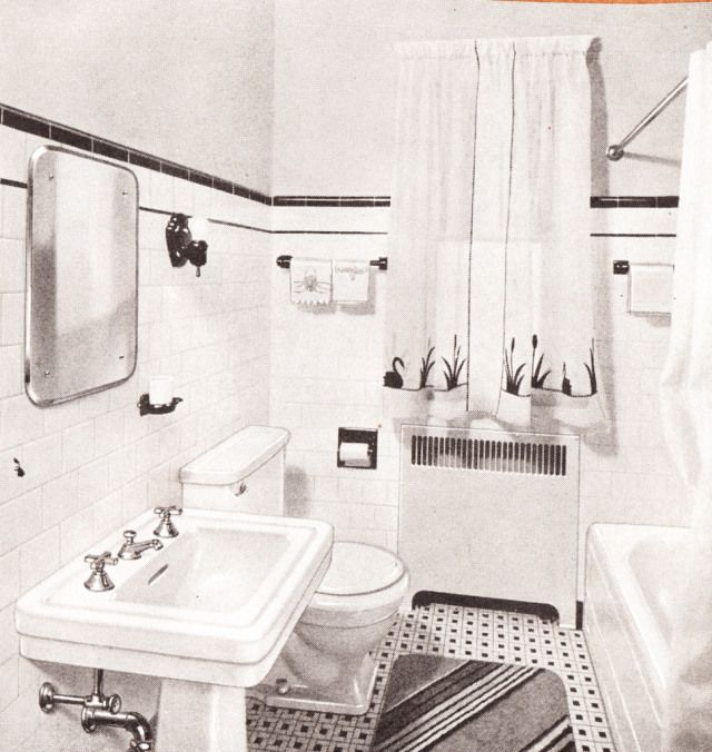 1940s Bathroom 1940sbaths Mid Century Scrapbook Bathrooms