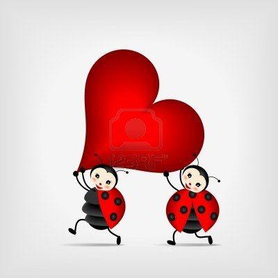 dos mariquitas felices que se ejecutan con gran corazón rojo Foto de archivo - 12870121