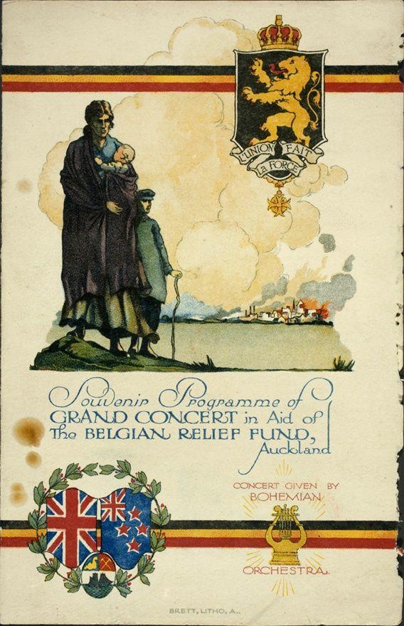 Belgian Relief Fund concert programme | NZHistory, New Zealand history online