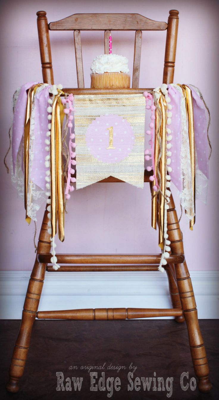 BLUSH PINK and GOLD Lace and Burlap Birthday Age High  chair/Highchair/Birthday Banner