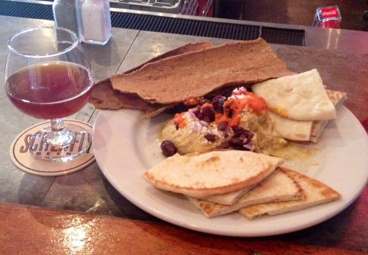 Schlafly's brewery hummus with feta, onion and kalamata olives. OMG