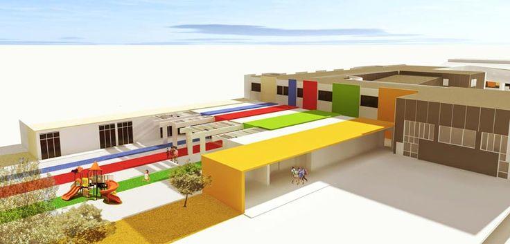 Scuola materna e scuola primaria ad Olbia. Rendering by Gianluca Deidda Compositing & texture by Luca Garbarino
