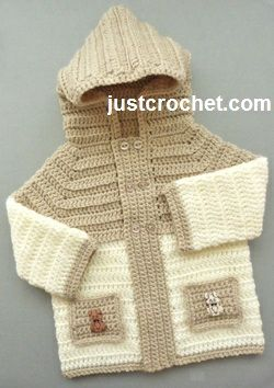 Free baby crochet pattern for jacket with hood & pockets http://www.justcrochet.com/hooded-jacket-usa.html #justcrochet #patternsforcrochet