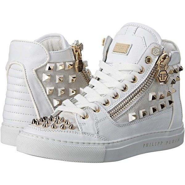 Philipp Plein My Style Sneakers Women's Lace up casual Shoes, White ($528) ❤ liked on Polyvore featuring shoes, sneakers, white, lacing sneakers, high top shoes, white sneakers, white studded sneakers and white trainers
