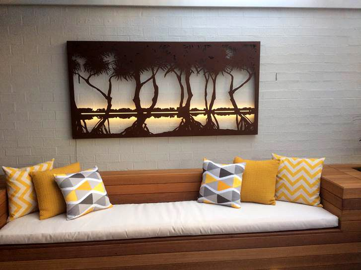 metal wall art pandanus design features within a contemporary setting with outdoor decking geometric - Wall Art Design