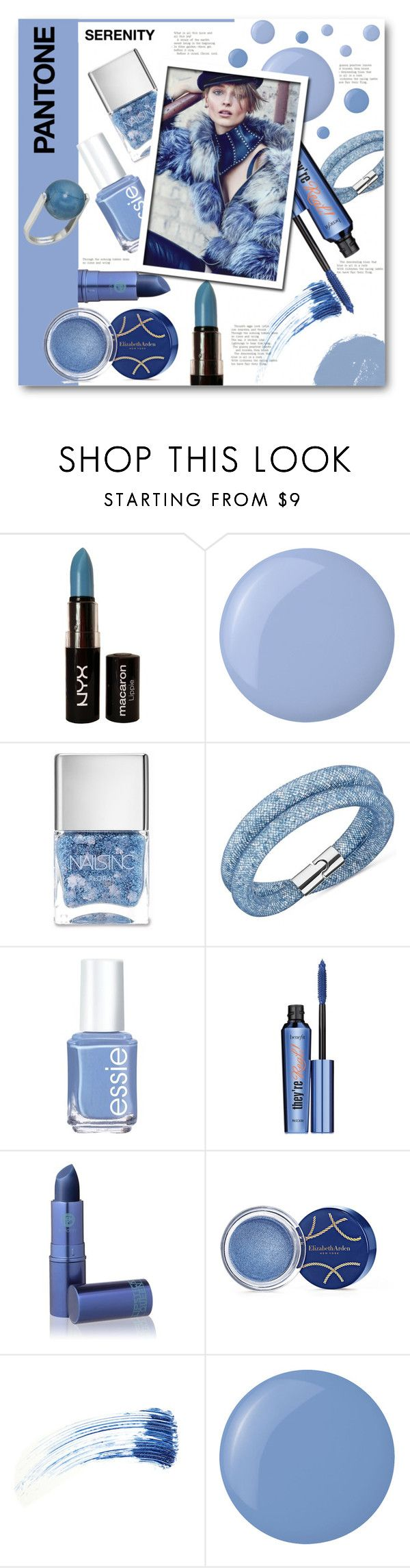 """""""Pantone Beauty: Rose Quartz and Serenity"""" by anitadz ❤ liked on Polyvore featuring uroda, NYX, Essie, Nails Inc., Swarovski, Benefit, Lipstick Queen, Elizabeth Arden, Eyeko i French Connection"""