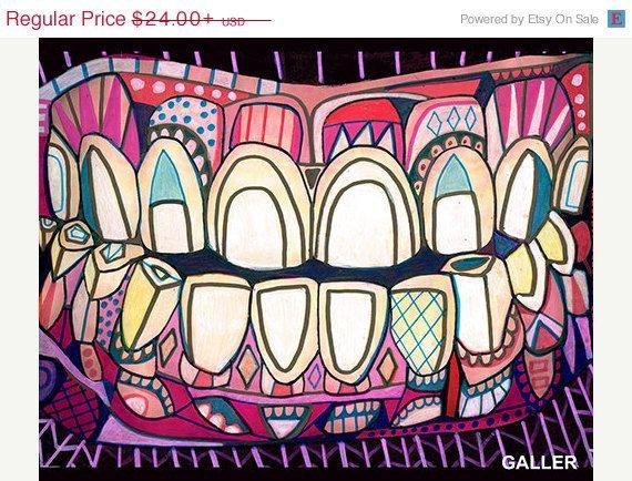 40 OFF  Teeth Surreal tooth Art Print Poster by HeatherGallerArt