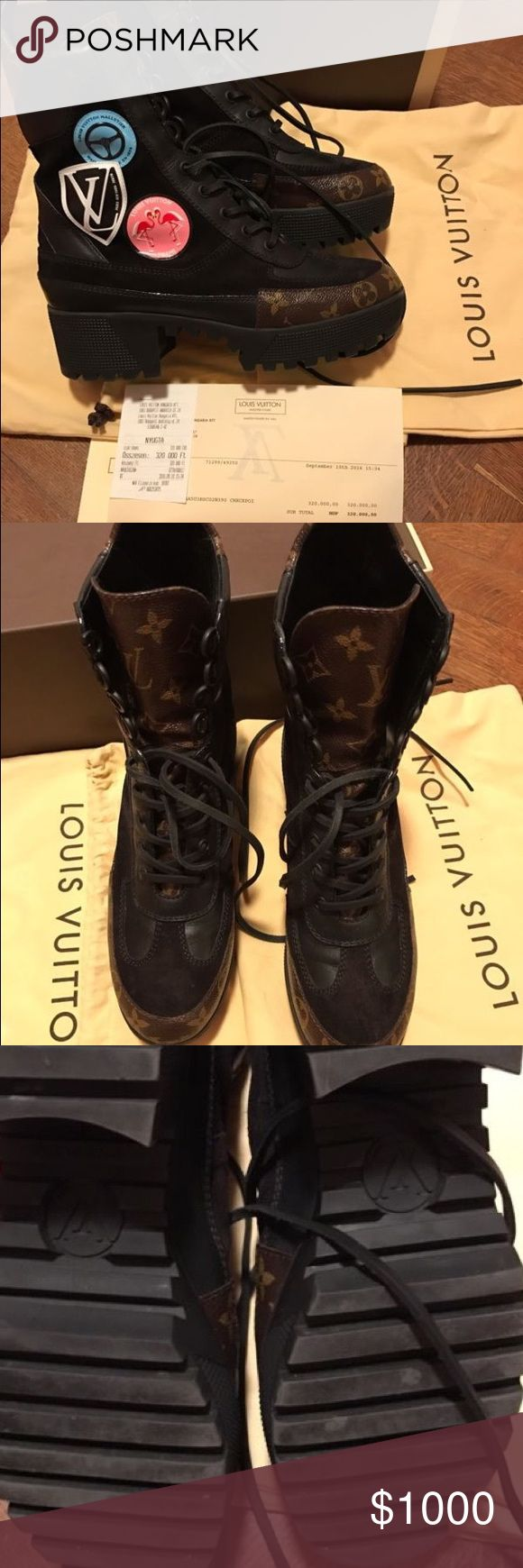 LV Desert Combat Boots Limited edition slightly worn but in top notch condition! Orange LV Box, dust bag and receipt included with this purchase. Any questions or concerns feel free to email missconsignmentjunkie@gmail.com Item Available CashAPP Louis Vuitton Shoes Combat & Moto Boots