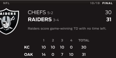 NFL - Chiefs @ Raiders - Oct 19