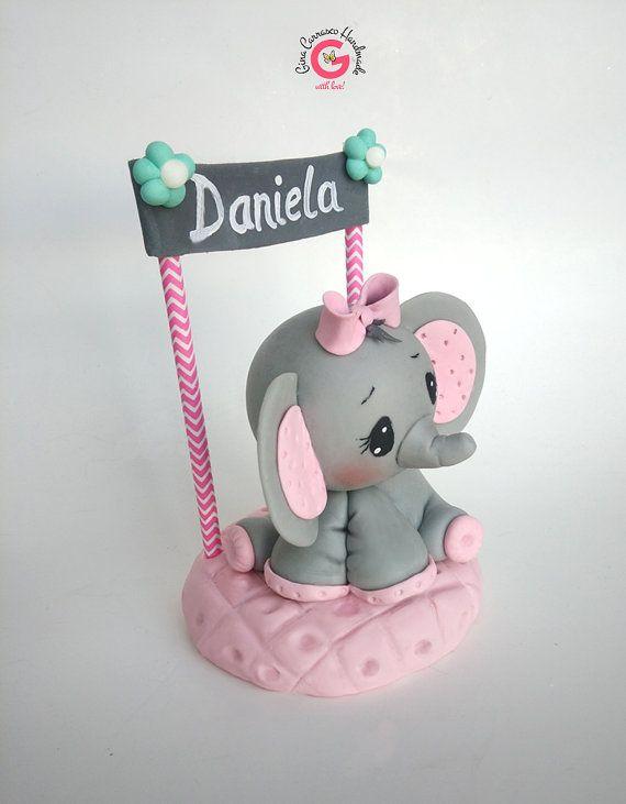 Elefante bebé ducha torta elefante chica gris y rosa | Etsy