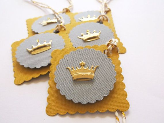 Princess Crowns in Gold 3-D Gift Tags, Party, Shower, Favor, Goody Bag  3-D Tags,