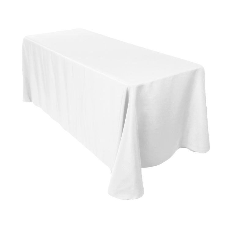 90 x 156 inch Rectangular Economy Polyester Tablecloth White - $9.99 each, floor length drop on standard 8 ft table