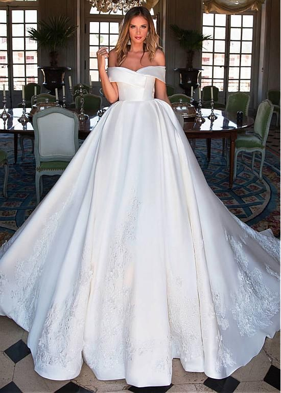 [197.50] Fascinating Satin Off-the-shoulder Neckline Ball Gown Wedding Dress With Lace Appliques & 3D Flowers & Beadings
