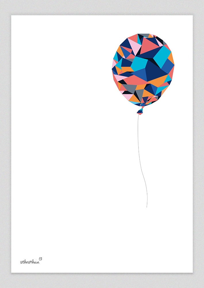 Simple and clever illustration of a geometric balloon by wehnerhein.