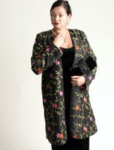 ac76f68eb7961 Dragon Lady Coat Black Pink Tangerine Embroidered and Jeweled Taffeta (Plus- Size
