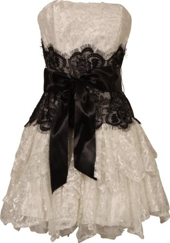 This is my wedding dress! I'm pinning it so that other women who don't want to spend an arm and a leg on a dress, who're a bit curvey, can find it too!!!! Strapless Bustier Contrast Lace and Crinoline Ruffle Prom Mini Dress Junior Plus Size: Clothing