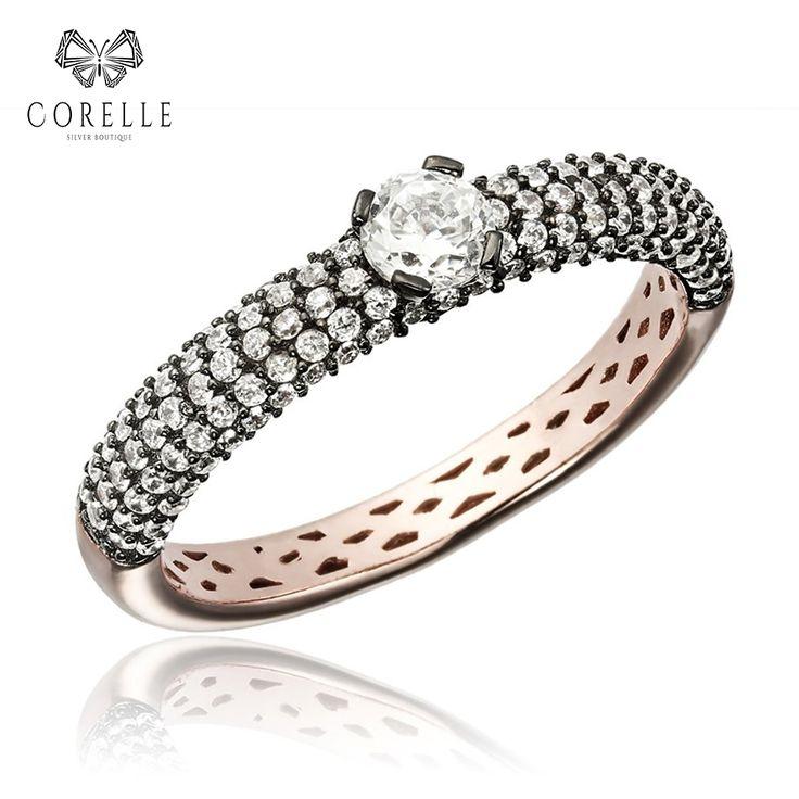 Inel din argint cu zirconiu placat cu aur roz Rose gold * Silver * Silver ring
