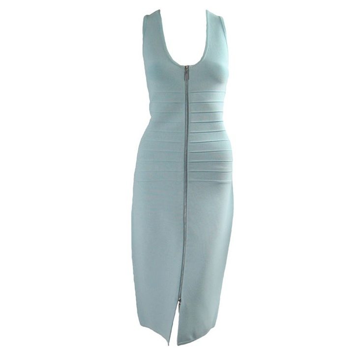 Herve Leger baby blue dress | France, 21st century | Light blue stretch rayon blend. Ribbed area through torso. Sleeveless. Scoop neck. Silver-toned zip front that zips from bottom to top