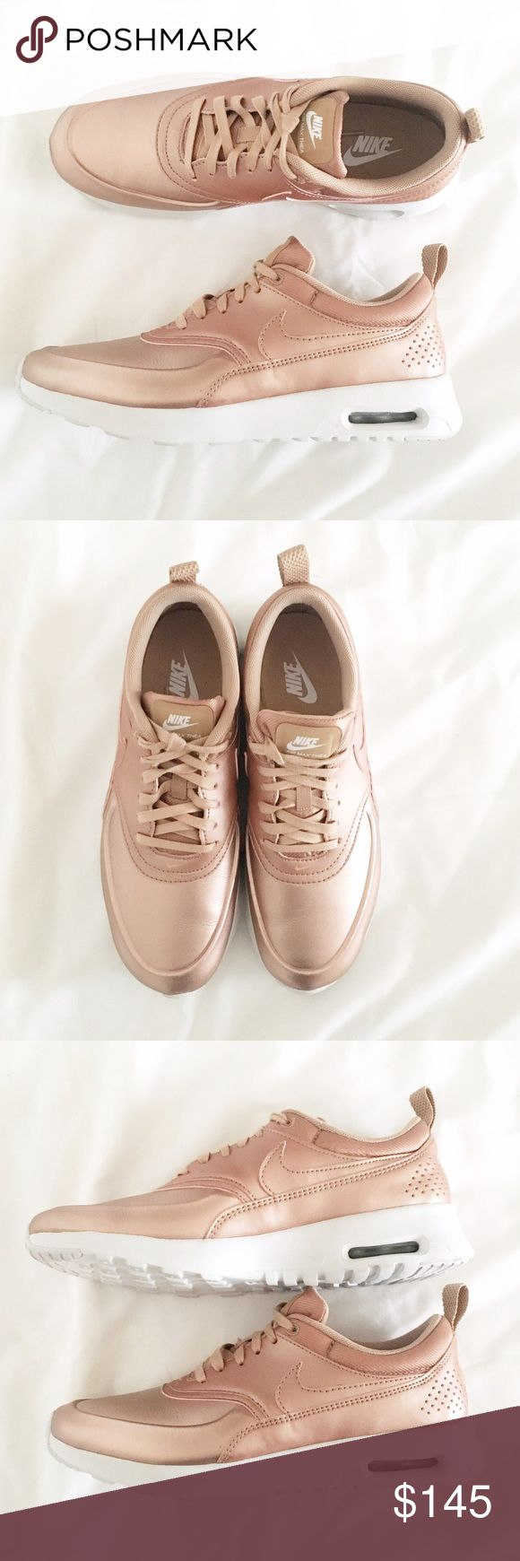 ✨ Nike l RoseGold Red Metallic Nike Air Max Thea Absolutely beautiful Nike rose gold or officially, red metallic Air Max Thea sneakers. Super rare and hard to find! Wore these a total of one time and bought from Nordstrom. In like new condition. Nike Shoes Sneakers