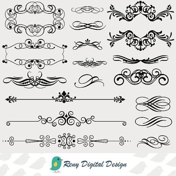 Calligraphy Clip Art Set of 17 Instant Download Design Elements: https://www.etsy.com/listing/187818395/calligraphy-digital-clip-art-vintage?ref=listing-shop-header-1