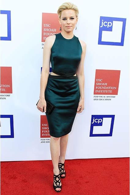 Elizabeth Banks dons a cut-out Bill Blass sheath dress for the USC Shoah Foundation Institute Ambassadors for Humanity Gala held at the at Hollywood & Highland on June 6, 2012 in Hollywood, CA.