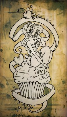 Image detail for -cupcake pin up tattoo by blacksilence92 designs interfaces tattoo ...