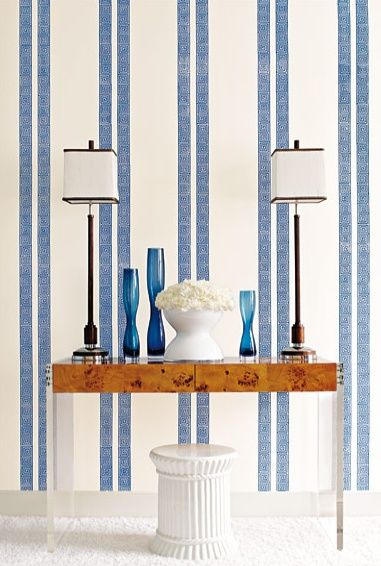 Greek Key Wallpaper · Blue Striped ...