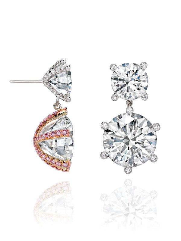 A Touch of Pink: Ten Years of Exceptional Diamond Jewellery | Sotheby's. To find one magnificent diamond is rare, but to find two perfectly matched is extraordinary. White and pink diamonds are paired beautifully in these earrings, which weigh a total of 27.30 carats.