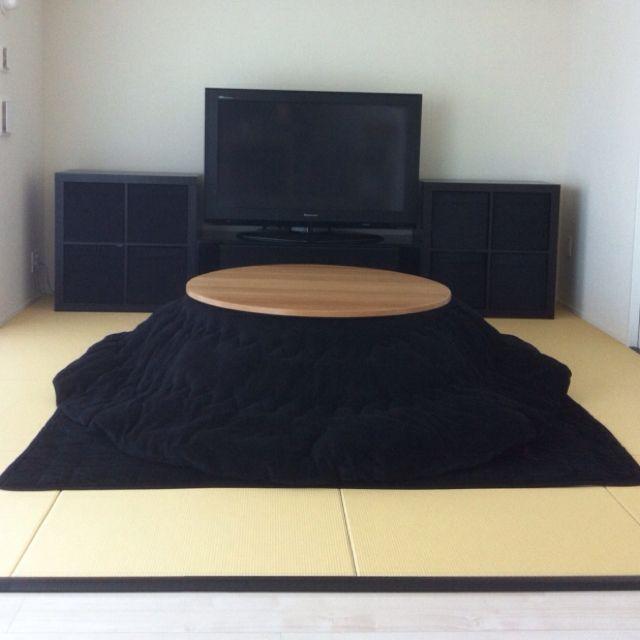 MIMOSAさんの、リビング,IKEA,ちゃぶ台,こたつ,たたみ,black,置き畳,のお部屋写真