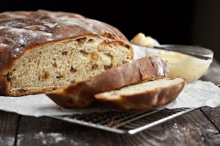 A traditional Irish bread recipe, this Barmbrack is a rustic loaf filled with tea-soaked raisins. Includes a delicious honey butter recipe.