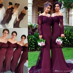 Vintage Lace Burgundy Off Shoulder Long Sleeve Mermaid Bridesmaid Dresses 2016 Custom Make Dubai Arabic Style Wedding Party Guest Dress Childrens Bridesmaid Dresses Country Bridesmaid Dresses From Gaogao8899, $88.77| Dhgate.Com