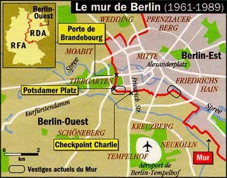 Le mur de Berlin Symbole de la guerre froide entre l'Est et l'Ouest et des tensions entre la Russie et les Etats-Unis